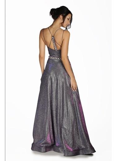 Pierre Cardin Simli Taş İşlemeli Uzun Abiye Elbise Mor